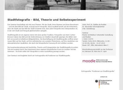 Ankündigung Uni Weimar zur Stadtfotografie