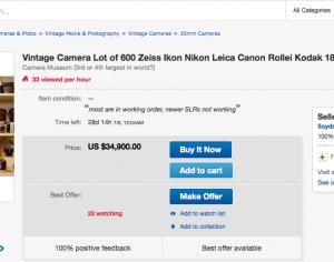 ebay Auktion Kamerasammlung